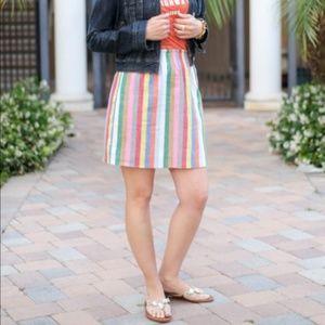 J. Crew Rainbow Stripe Linen Sidewalk Skirt